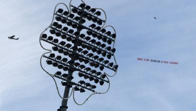 Photo of ویڈیو: ہندوستان و سری لنکا میچ میں اڑا 'جسٹس فار کشمیر' بینر والا ہیلی کاپٹر