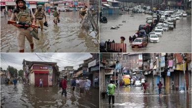 Photo of چند منٹوں کی بارش سے سری نگر کی سڑکیں دریا میں تبدیل