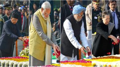 Photo of صدر کووند، پی ایم مودی، منموہن سنگھ اور سونیا گاندھی نے 'بابائے قوم' کو پیش کیا گلہائے عقیدت
