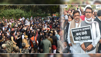 Photo of کسانوں کی حمایت میں بی جے پی ہیڈ کوارٹر کے باہر کانگریس کارکنان کا مظاہرہ